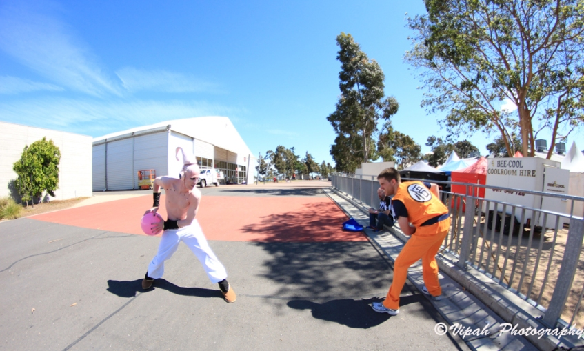 Kid Buu and Goku fight 2